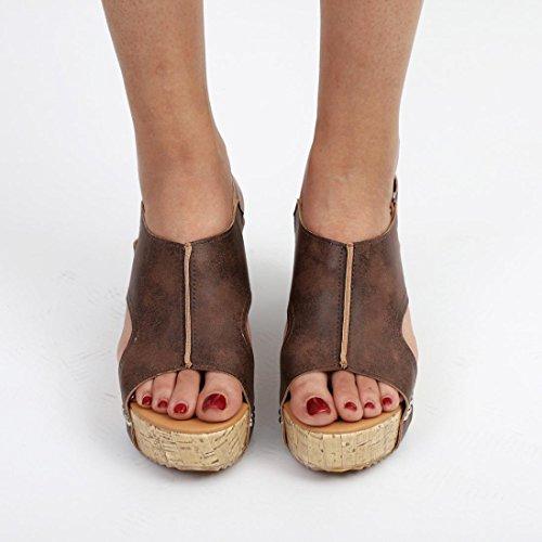 Couleur Sandales Marron Pure Chaussures Bovake Plage Sandales Femme Boho Décontractée Été Wedges qWRAOT4