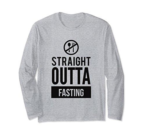 Unisex Straight Outta Fasting Funny Dieting Slogan T Shirt Medium Heather Grey