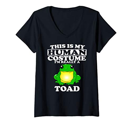 Womens This Is My Human Costume I'm Really A Toad Frog Gift V-Neck T-Shirt