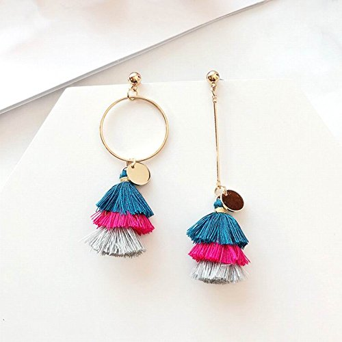 High-Season MENGJIQIAO New Bohemia Colorful Tassel Long Earrings Women Big Circle Asymmetry Earrings Brincos For Girls Fashion Jewelry (ฺBlue)