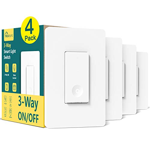 Smart Light Switch, Treatlife 3 Way Smart Switch 4 Pack, Smart Home Light Switch Works with Alexa and Google Assistant, Neutral Wire Required, Remote Control, ETL, Schedule, No Hub Required