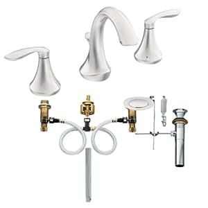Moen T6420 9000 Eva Two Handle High Arc Bathroom Faucet With Valve Chrome Touch On Bathroom