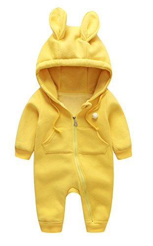 Newborn Baby Boys Girls 3D Cartoon Ribbit Ear Romper One-piece Zipper Jumpsuit size 6-12Months/66 (Yellow)]()