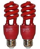 colored light bulbs 60 watt - SleekLighting 13 Watt Red Spiral Bug CFL Light Bulb 120Volt, E26 Medium Base. RED (Pack of 2)