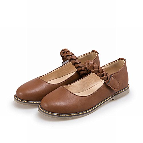 Charm Brown Ankle Jane Womens Vintage Style Mary Flat Strap Foot Shoes fw1OfaqT