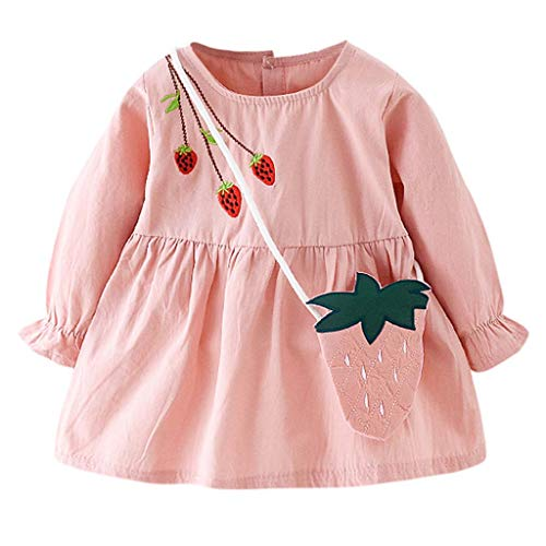 Baby Toddler Girl Spring Autumn Dress,Crytech Cotton Long Sleeve Lovely Strawberry Embroidery Princess Dress and Hand Made Shoulder Bag Newborn Infant Casual Playwear Outfits (3-4 Years, Pink)