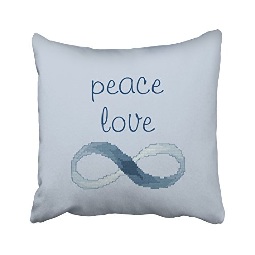 ONELZ Peace Love Square Decorative Throw Pillow Case, Fashion Style Zippered Cushion Pillow Cover (16X16 inch)
