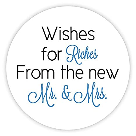 1.5 Lottery Ticket Wedding Favor Stickers 60ct #214-GP Wishes for Riches for the New Mr and Mrs