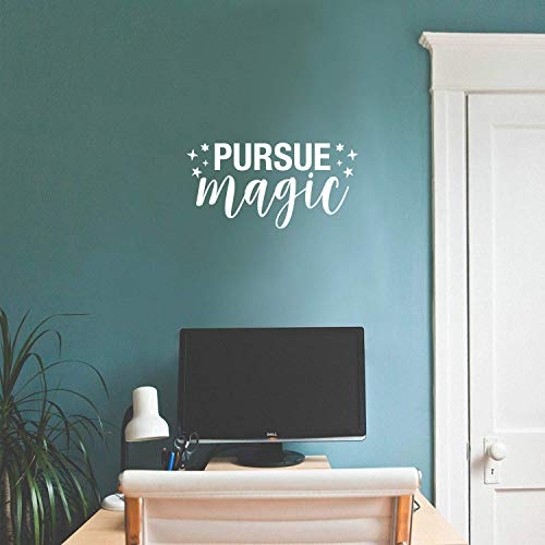 Vinyl Wall Art Decal – Pursue Magic – 11″ x 22″ – Modern Inspirational Cute Quote Sticker for Kids Room Home Office Bedroom Playroom Classroom Nursery Decor (White)
