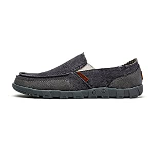 Classman Men's Casual Canvas Lightweight Boat Shoes Low Top Slip-On Loafer Flats (EUR38=US5.5, Gray)