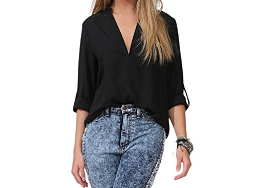 Miss Petite Unlined Jacket (FQHOME Womens Black V Neck Loose Fitting Chiffon Blouse Size L)
