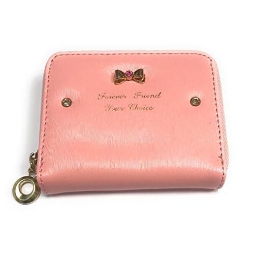 Porte-monnaie en simili cuir modèle noeud papillon strass couleur au choix avec un cadeau bonus offert (Rose clair)