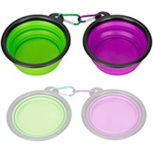 Collapsible Silicone Pet Bowl,set of 2, IDEGG Food Grade Silicone BPA Free, Foldable Expandable Cup Dish for Pet Dog/Cat Food Water Feeding Portable Travel camping Bowl (Set of 2, Purple+Green)