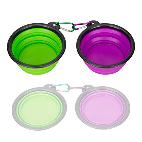 Water Dish Set (Collapsible Silicone Pet Bowl,set of 2, IDEGG Food Grade Silicone BPA Free, Foldable Expandable Cup Dish for Pet Dog/Cat Food Water Feeding Portable Travel camping Bowl (Set of 2, Purple+Green))