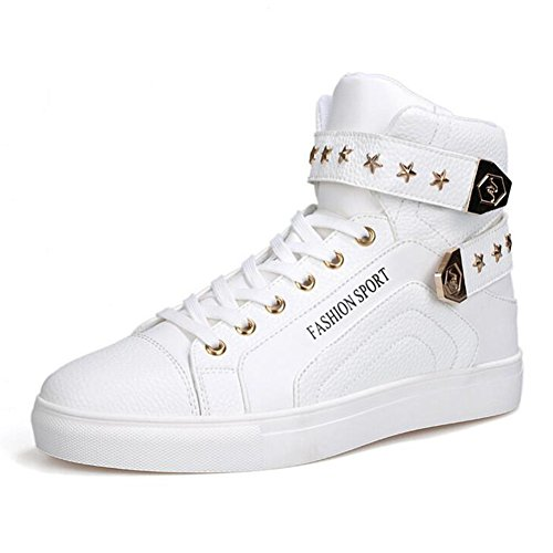 PP FASHION Men's Korean Style High Top Platform Fashion Sneaker Sports Casual Shoes White 10.5D(M) by PP FASHION