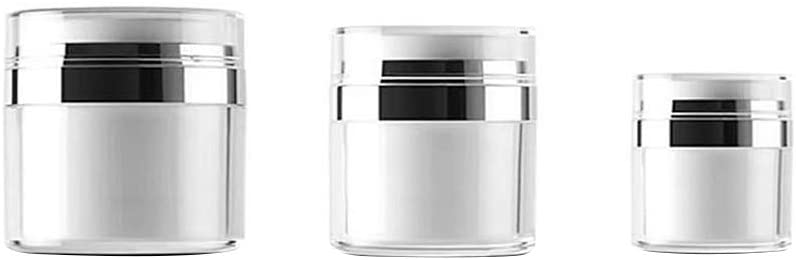 EOPER Airless Pump Jars 15/30/50ML, 3 Pieces Empty Refillable Cosmetic Air Pump Jars Bottles Airless Lotion Cream Sample Containers Makeup Vials Accessories Leak-Proof DIY Travel White