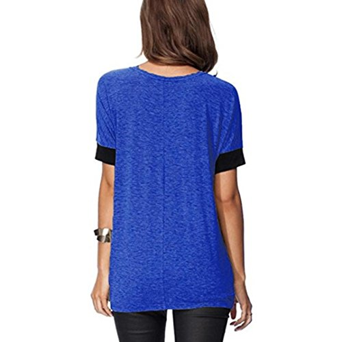 62944738b2f Shybuy Hot Sale Women Blouse, Womens Tops Short Sleeve Shirts Round Neck  Casual T Shirts Loose Fit Tee Blouses (S, Blue)