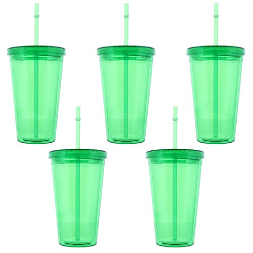 18 Oz Green Tumbler With Screw On Lid And Straw - Set of 5 -  SandT Collection