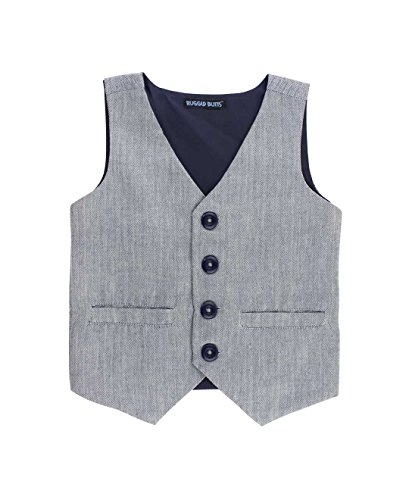 RuggedButts Infant/Toddler Boys Gray Herringbone Formal Vest w/Navy Buttons - Hamilton Herringbone - 18-24m by RuggedButts
