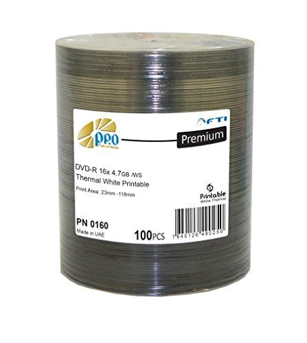 Disc Makers Falcon 16X 4.7GB White Thermal Printable DVD-R Blank DVD, Pack of 100