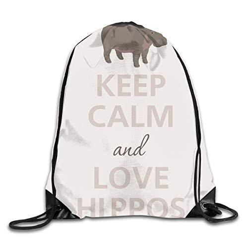YiFeii Keep Calm and Love Hippos Men & Women Fashion Backpacks Shoulder Bag Laptop Backpack,Sport Gym Sackpack Drawstring Backpack Bag