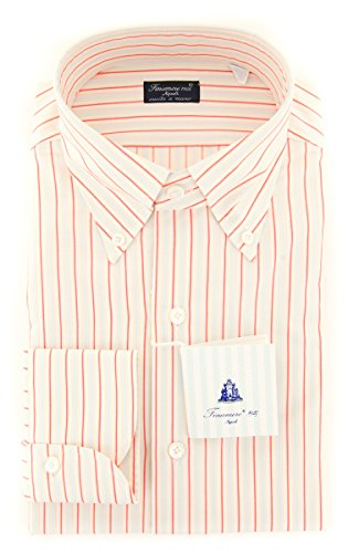 Finamore New Napoli Red Striped Slim Shirt (Napoli Shirt Red)