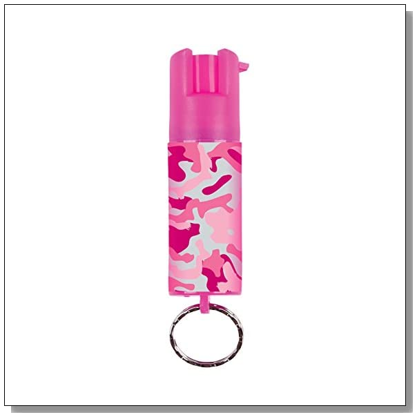 SABRE Red Pink Camo Pepper Spray - Police Strength - Compact Size, Contains 25 Bursts (5x Other Brands) & 10-Foot (3M) Range