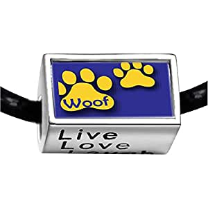 Chicforest Silver Plated Dog Woof Paw Prints Photo Live Love Laugh Charm Beads Fits Pandora Charm