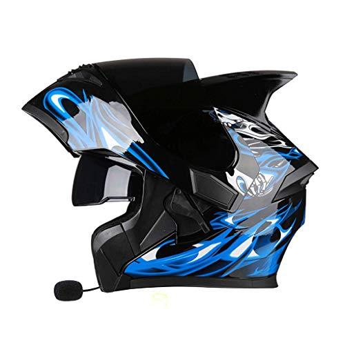 OUTO Descubrimiento Casco Motocicleta Auricular Bluetooth Negro Espejo antivaho Casco Integral Cara Diablo Ángulo...