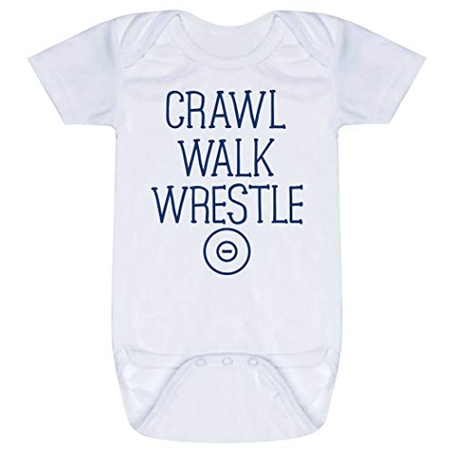 ebe6a0be8 Wrestling Baby & Infant Onesie   Crawl Walk Wrestle   Navy   One Piece Small