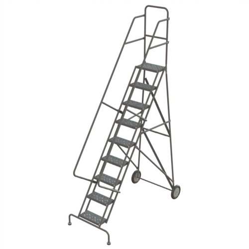 Rolling Ladder Steel - Tri-Arc KDRF109166 9-Step All-Terrain Roll and Fold Steel Industrial & Warehouse Ladder with Perforated Tread