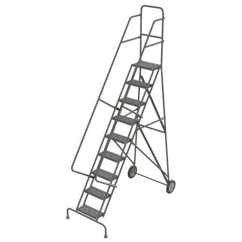 Roll Steel Ladder - Tri-Arc KDRF109162 9-Step All-Terrain Roll and Fold Steel Industrial & Warehouse Ladder with Grip Strut Tread
