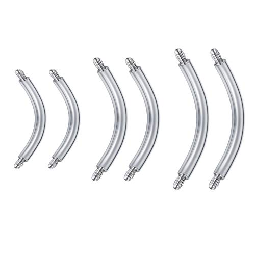 JFORYOU 6 Pcs 14G Externally Threaded Stainless Steel Curved Barbell Belly Piercing Navel Ring Eyebrow Bar Barbell Accessories Piercing Jewelry-6/8/10mm Length