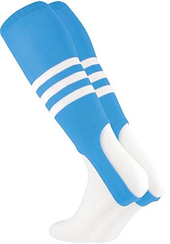 TCK Striped 7 Inch Baseball Softball Stirrups (Columbia Blue/White)