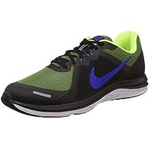 Nike Men's Dual Fusion X 2 Black Blue Neon Green Running Shoes (12 M, Black/Volt/Blue)