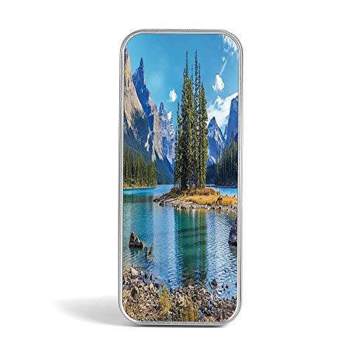 Tin Pencil Box,Lakehouse Decor,Special Gifts for Children/Kids,Tranquil Peaceful Lake in a Summer Time with Forest and Clean Sky Reflection