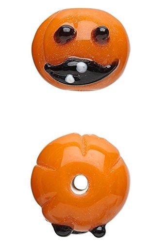 4 Lampwork Glass Orange Happy Pumpkin Halloween Beads