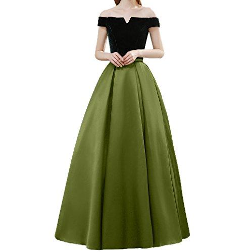 Rock Charmant Bodenlang Kurzarm Elegant Olive Partykleider Ballkleider Satin Tanzenkleider Gruen linie A Abendkleider Damen 4wSA4fq