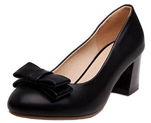 AgooLar Damen Mittler Absatz PU Rein Ziehen auf Rund Zehe Pumps Schuhe Schwarz