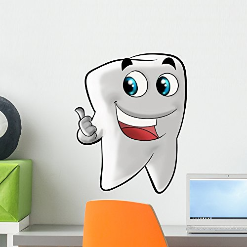 Wallmonkeys FOT-25856059-18 WM219118 Smiling Molar Tooth Peel and Stick Wall Decals (18 in H x 15 in W), Small ()