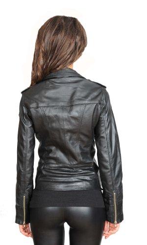 Femmes Dernières Betty Zip Cuir Designer Motard De Style Filles Forme Noir En Veste BBrHdq