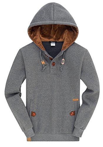 Wantdo Men's Pullover Fleece Hoodie Cool Sweatshirt XXX-Large Grey