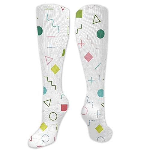 Colored Square and Triangle Polyester Cotton Over Knee Leg High Socks Cool Unisex Thigh Stockings Cosplay Boot Long Tube Socks for Sports Gym Yoga Hiking Cycling Running Football