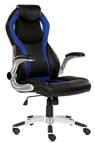 Adjustable Swivel Office Chair (SEATZONE High-back Executive Swivel Office Chair, Adjustable Gaming Chair with Folding Armrest, Racing Car Style Bucket Seat Computer Chair for Working, Studying, E-sports Use, Blue)