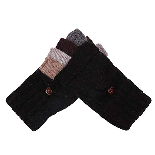 Diamondo Women Knitted Fingerless Winter Cashmere Warm Exposed Finger Gloves (Black