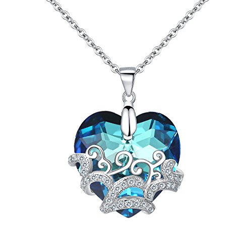 BriLove Women 925 Sterling Silver CZ Glass Filigree Heart Shape of Ocean Pendant Necklace Adorned with Swarovski Crystals Bermuda Blue