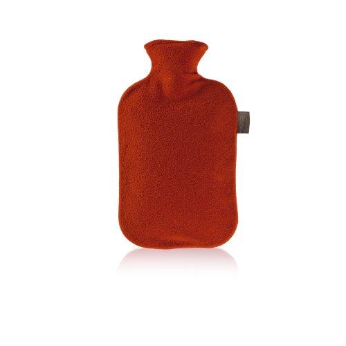 Fashy 6530 Wärmflasche mit Vliesbezug 2 L, Farbe kirschrot