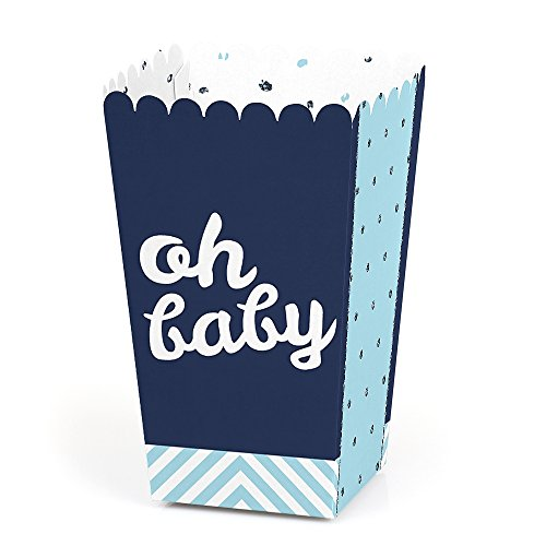 (Hello Little One - Blue and Silver - Boy Baby Shower Favor Popcorn Treat Boxes - Set of 12)