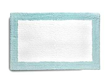 Blue Bathroom Rugs Bath Mats Shower Mats White with Border Microfiber  20 x 32