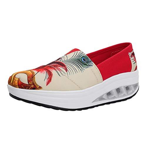 Wedges Laufschuhe Sportschuhe Loafers Plateau Walkingschuhe 22gedruckt LINNUO Damen Outdoor Sneaker Fitness Freizeitschuhe qXzZZ7x
